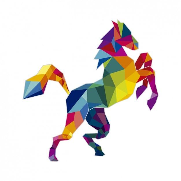 Poligonal ilustração do cavalo Vetor grátis