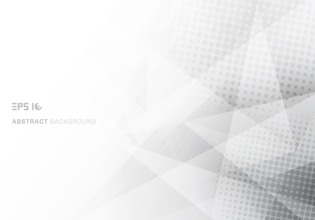 Polígono de triângulos abstratos poli baixo branco e cinza Vetor Premium