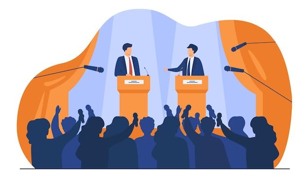 Políticos conversando ou tendo debates na frente de ilustração vetorial plana de público. oradores públicos masculinos dos desenhos animados em pé na tribuna e discutindo. Vetor grátis