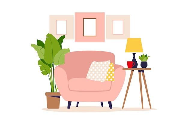 Poltrona moderna com mini mesa. interior da sala com mobília. estilo liso dos desenhos animados. ilustração vetorial Vetor Premium