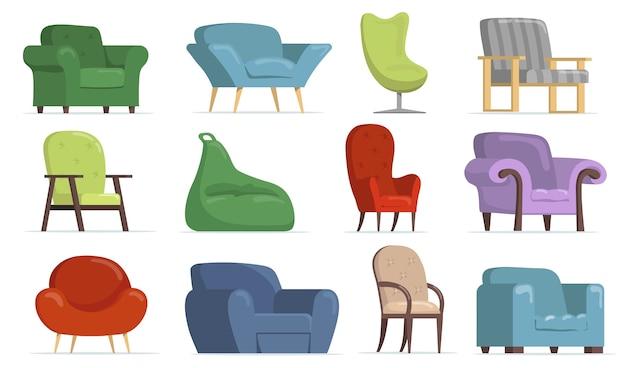 Poltronas confortáveis com conjunto plano para web design. cadeiras clássicas e modernas dos desenhos animados, coleção de ilustração vetorial isolado de pufes macios. conceito de móveis e interiores de apartamentos Vetor grátis