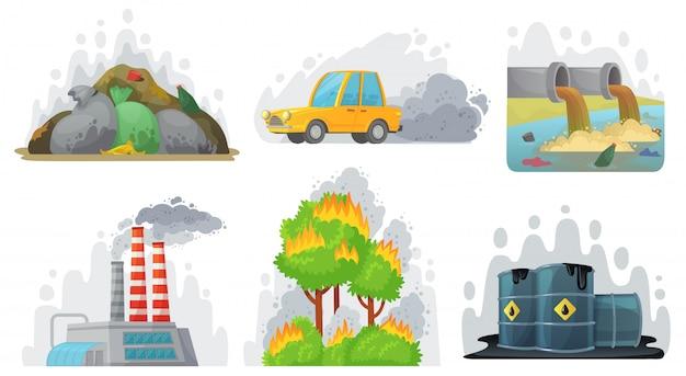 Poluição ambiental. ar contaminado, resíduos radioativos industriais e conjunto de ilustração de conscientização ecológica Vetor Premium