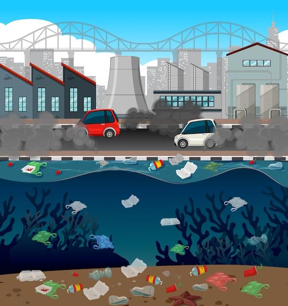 Poluição da água com sacos de plástico na cidade Vetor grátis