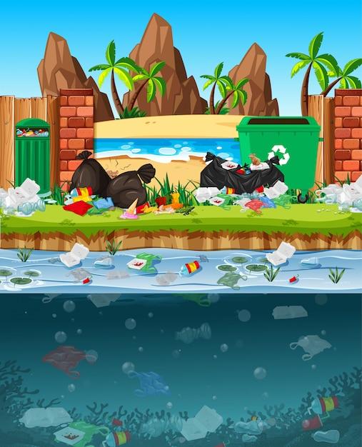 Poluição da água com sacos de plástico no rio Vetor grátis