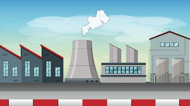 Poluição da cena de tema de fábrica na natureza Vetor Premium