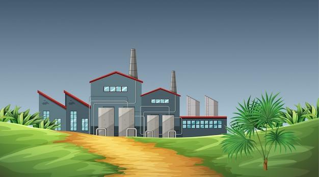 Poluição da cena de tema de fábrica na natureza Vetor grátis
