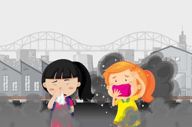 Poluição do ar com duas meninas na cidade fumada suja Vetor grátis