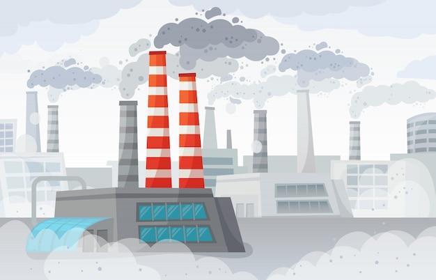 Poluição do ar da fábrica. ambiente poluído, poluição industrial e ilustração de nuvens de fumaça da indústria Vetor Premium