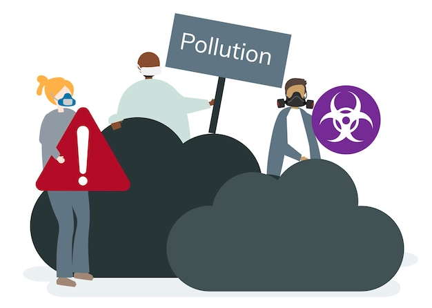 Poluição do ar smog e ar ruim Vetor grátis