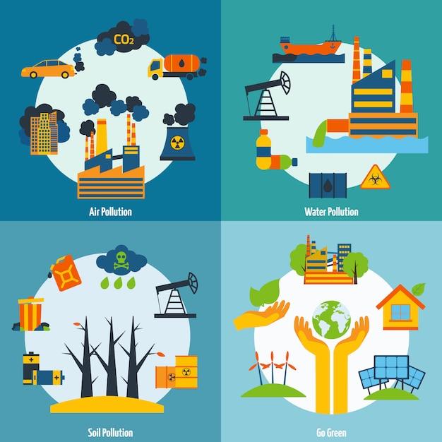 Poluição e ecologia set Vetor grátis