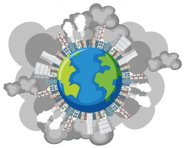 Poluição na terra com edifícios da fábrica e fumaça saindo Vetor Premium