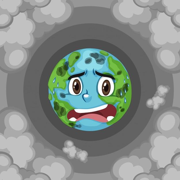 Poluição na terra com fumaça suja Vetor Premium