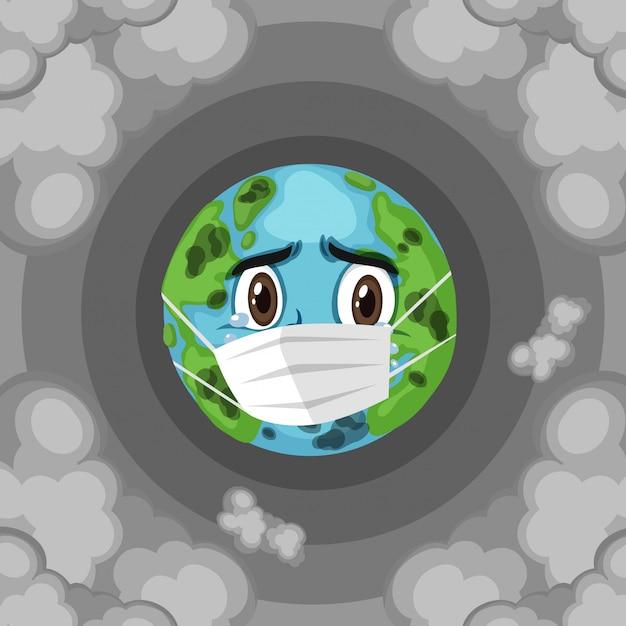 Poluição na terra com máscara triste vestindo terra | Vetor Premium