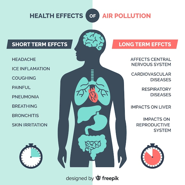 Poluição no infográfico do corpo humano Vetor grátis