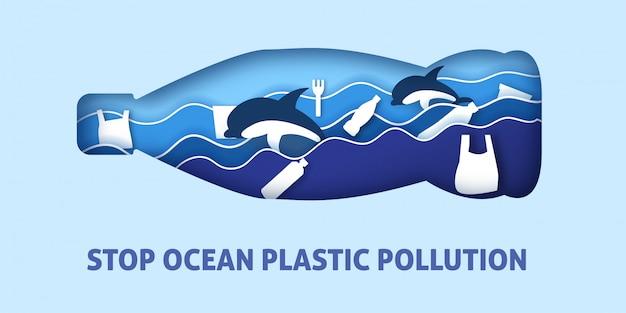 Poluição plástica do oceano no corte de papel e estilo artesanal. Vetor Premium
