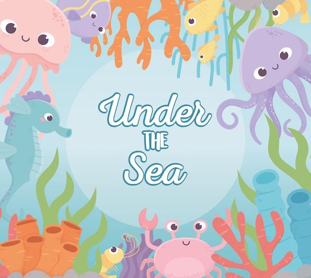Polvo água-viva caranguejo peixes camarão vida recife de coral dos desenhos animados no fundo do mar Vetor Premium