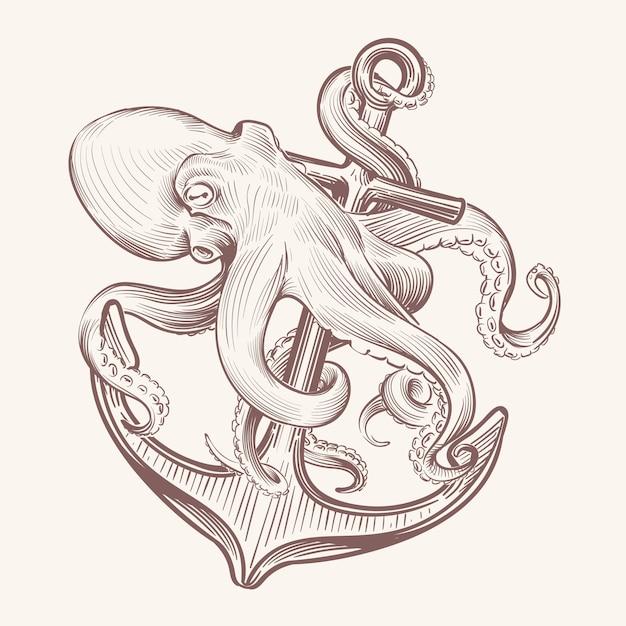 Polvo com âncora. desenho mar lula kraken segurando a âncora do navio. projeto vintage de tatuagem de polvo da marinha Vetor Premium
