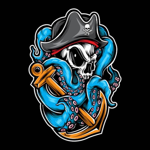 Polvo crânio pirata Vetor Premium