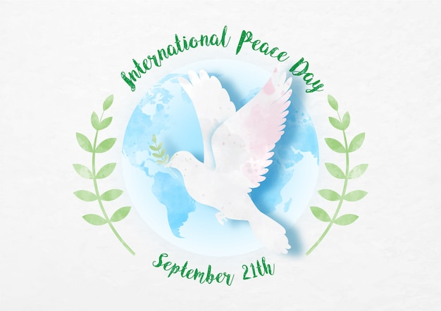 Pomba paz com o dia e o nome da campanha em um ramo global e oliveira em corte de papel e estilo aquarelas em papel padrão de fundo branco. Vetor Premium