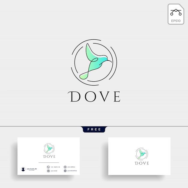 Pomba voando ícone de vetor de modelo de logotipo cosmético de pássaro Vetor Premium