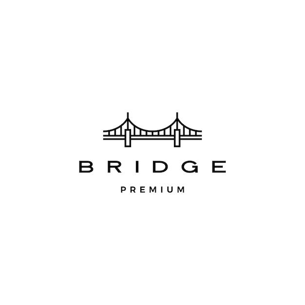 Ponte logotipo linha contorno monoline Vetor Premium