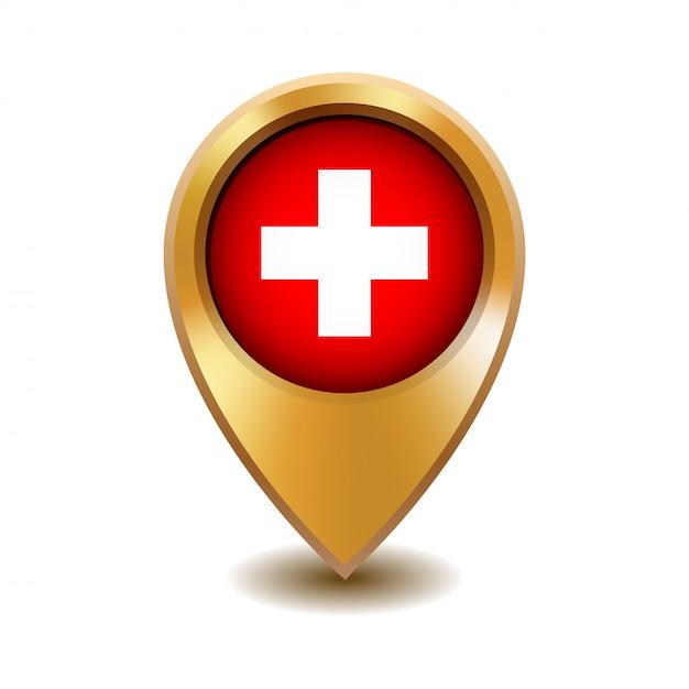 Ponteiro de mapa de metal dourado com bandeira da suíça Vetor Premium