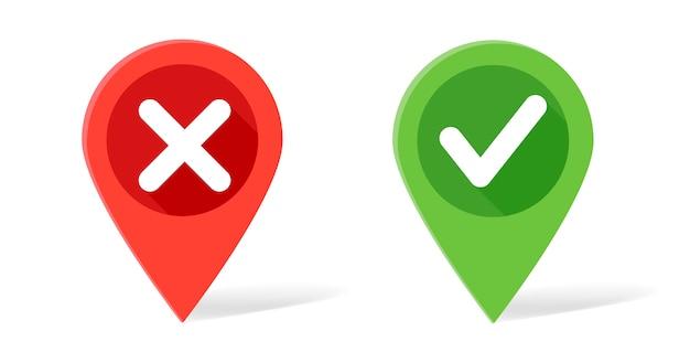 Ponteiro de mapa nas cores vermelho e verde com marca de seleção e cruzes Vetor Premium