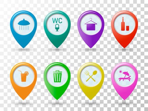 Ponteiros de ícones coloridos na praia. Vetor Premium