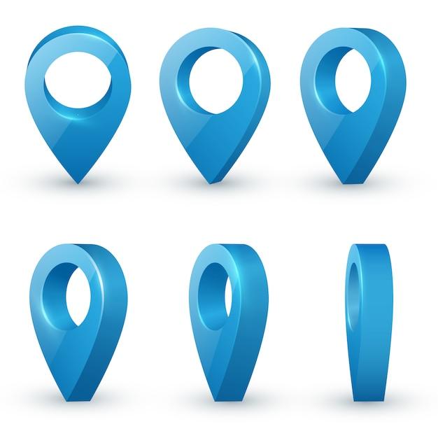 Ponteiros de mapa Vetor Premium