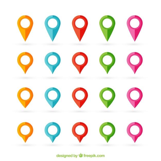 Ponteiros do mapa Vetor Premium