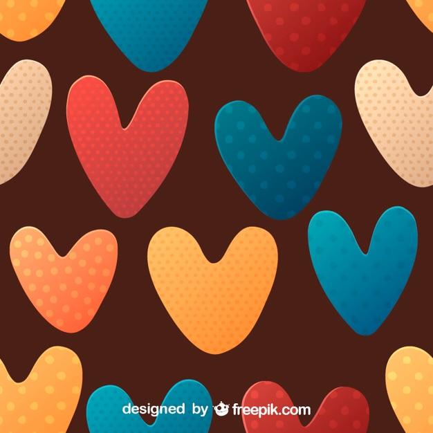 Pontilhadas coloridas coração sem emenda Vetor grátis
