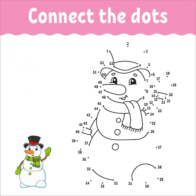 Ponto a ponto. desenhe uma linha. prática de caligrafia. aprendendo números para crianças. Vetor Premium