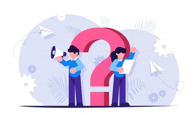 Ponto de interrogação. conceito de faq. a equipe de suporte ajudará a responder suas perguntas. Vetor Premium