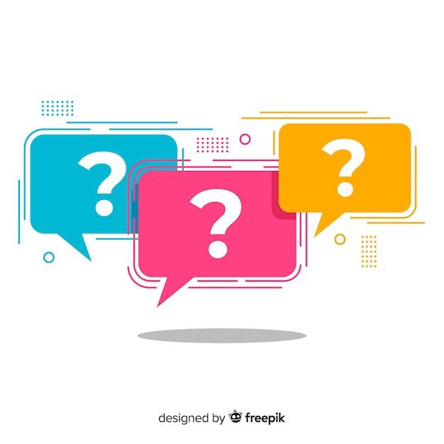 Ponto de interrogação plano no conjunto de bolha do discurso Vetor grátis