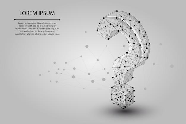 Ponto ponto de interrogação que consiste em pontos e linhas Vetor Premium
