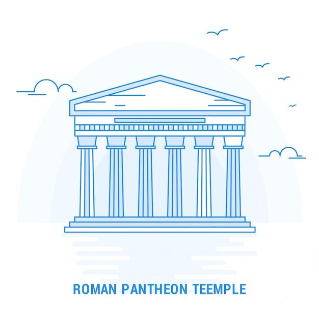 Ponto romano pantheon templo azul Vetor Premium