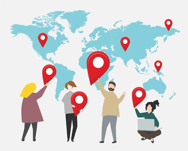 Pontos de verificação na ilustração do mapa do mundo Vetor grátis