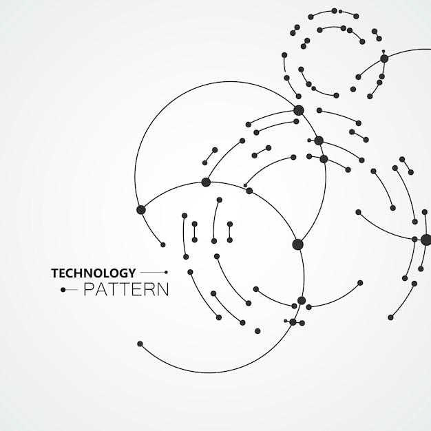 Pontos do vetor que conectam o fundo dos círculos. projeto de abstração geométrica com linhas e pontos Vetor Premium