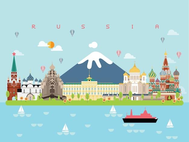 Pontos turisticos em rusia Vetor Premium