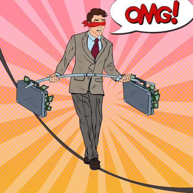 Pop art com medo de homem de negócios andando na corda com duas maletas de dinheiro. risco de investimento. Vetor Premium