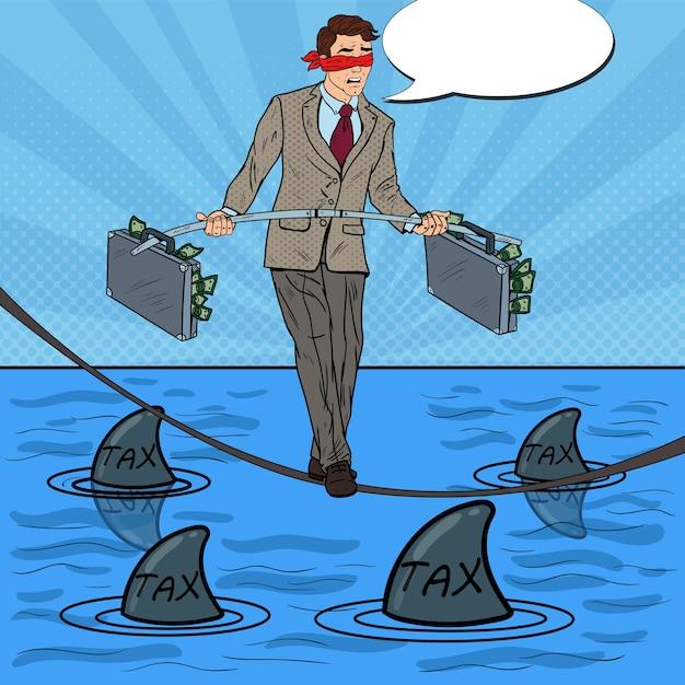 Pop art empresário andando na corda com maleta sobre o mar com tubarões. Vetor Premium