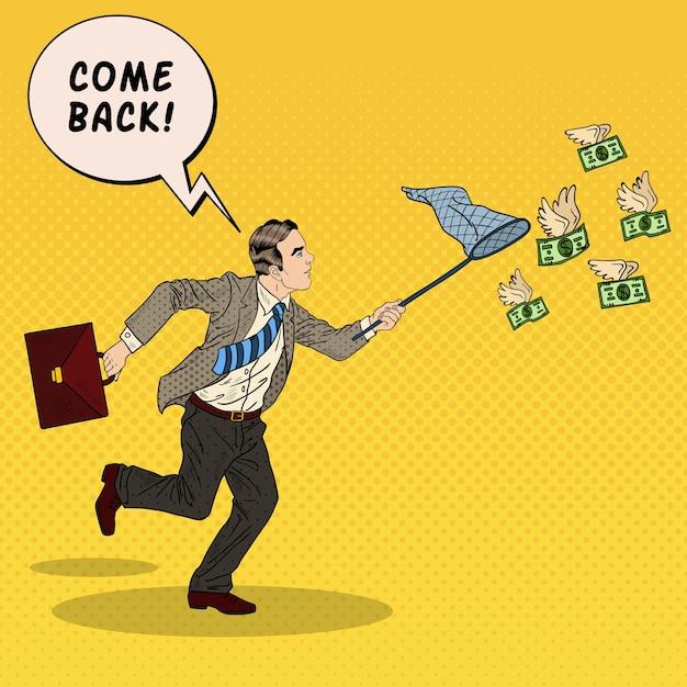 Pop art empresário pegando dinheiro voador. ilustração Vetor Premium