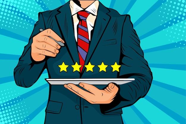 Pop art five stars rating avaliação de qualidade do serviço Vetor Premium