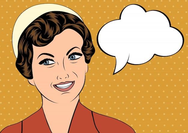 Pop art fofo retro mulher em estilo quadrinhos com mensagem bolha Vetor grátis