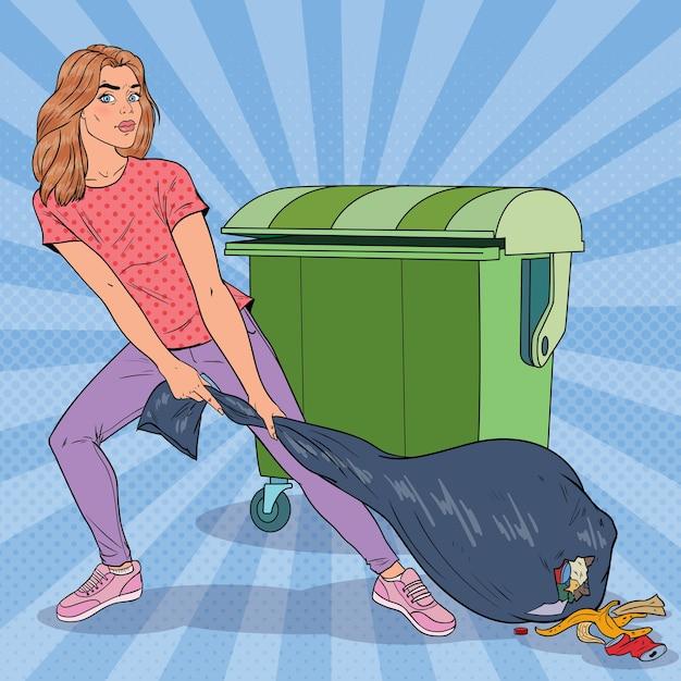 Pop art jovem segurando o saco de lixo. menina com saco de lixo fedido. Vetor Premium