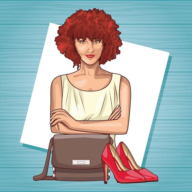 Pop art mulher bonita sorrindo cartoon Vetor Premium