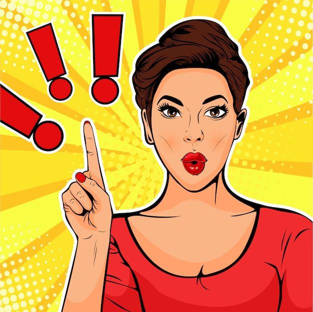 Pop art ponto de exclamação e mulher surpreendida Vetor Premium