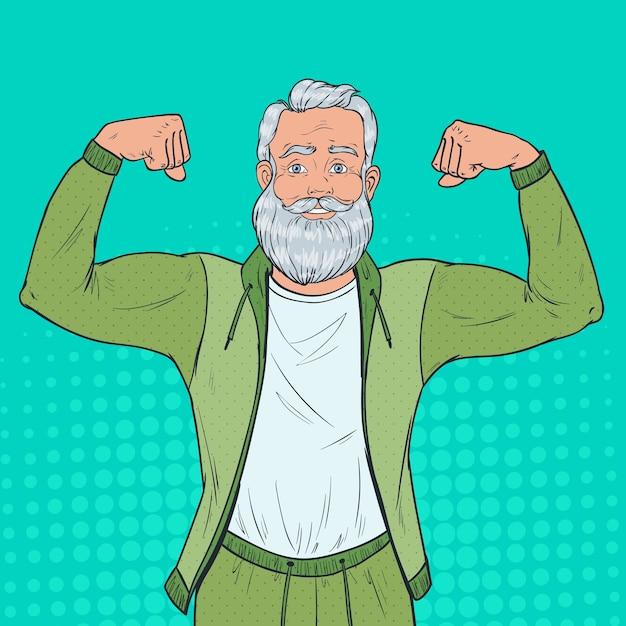 Pop art retrato de homem maduro sênior mostrando os músculos. feliz avô forte. estilo de vida saudável. Vetor Premium