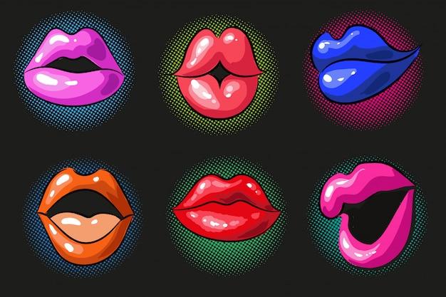 Pop art sexy cor lábios femininos Vetor Premium