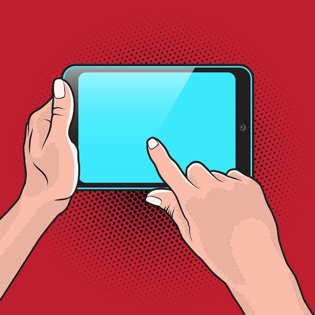 Popart style mokup com tablet pc na mão Vetor Premium